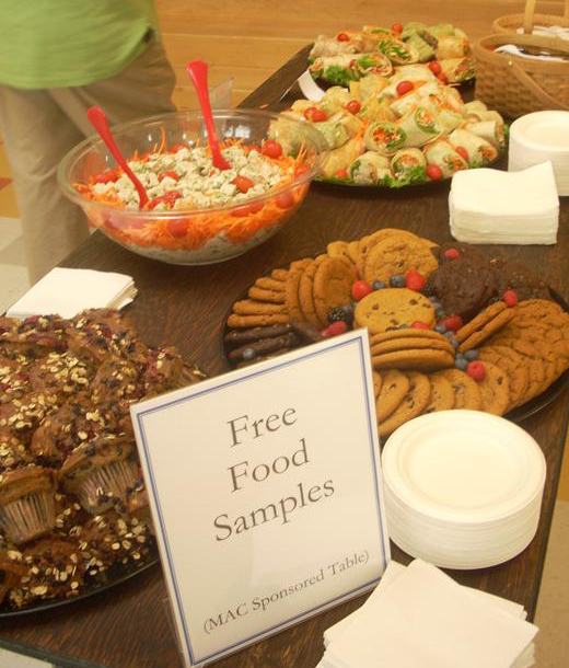 A selection of the free food samples at the 2009 Vegetarian and Vegan Food Festival.