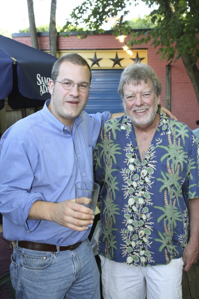 Rob Tod, left, who founded Allagash Brewing in 1999, hangs out with Dave Evans, owner of the Great Lost Bear restaurant, which hosts a Craft Beer Showcase on Thursday evenings.