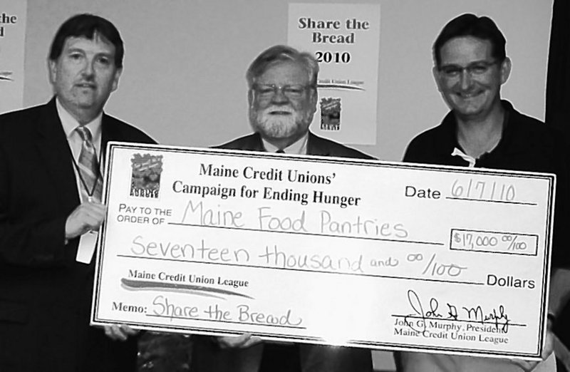 Maine Credit Unions gave $17,000 to be divided among food pantries to highlight the issue of hunger in Maine, in particular the needs of schoolchildren through summer.