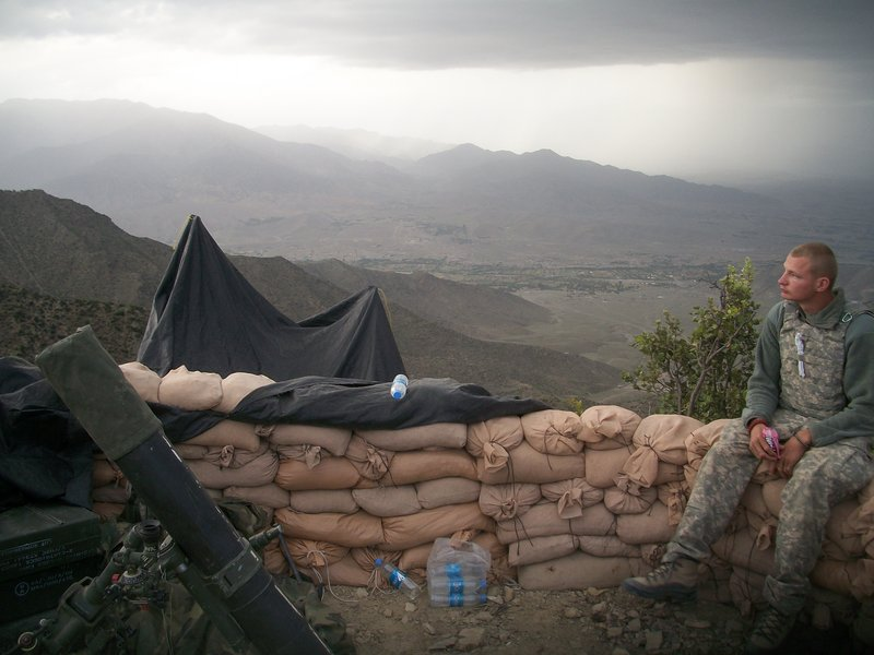 Maine Army National Guard Spc. Joshua Hager of Corinth describes this photo of himself at his post in Afghanistan as