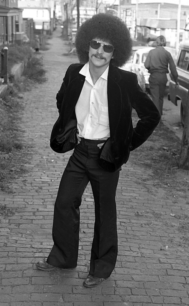 A John Duncan photo of a stylish pedestrian posing on Danforth Street near the High Street intersection in the mid-1970s.