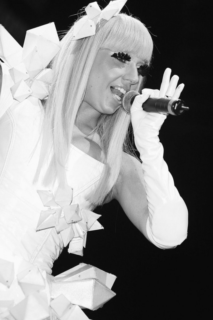 Singer Lady Gaga performs at the Z100 & Blackberry All Access Lounge in New York in 2008. She visited the Yankees clubhouse Friday night.