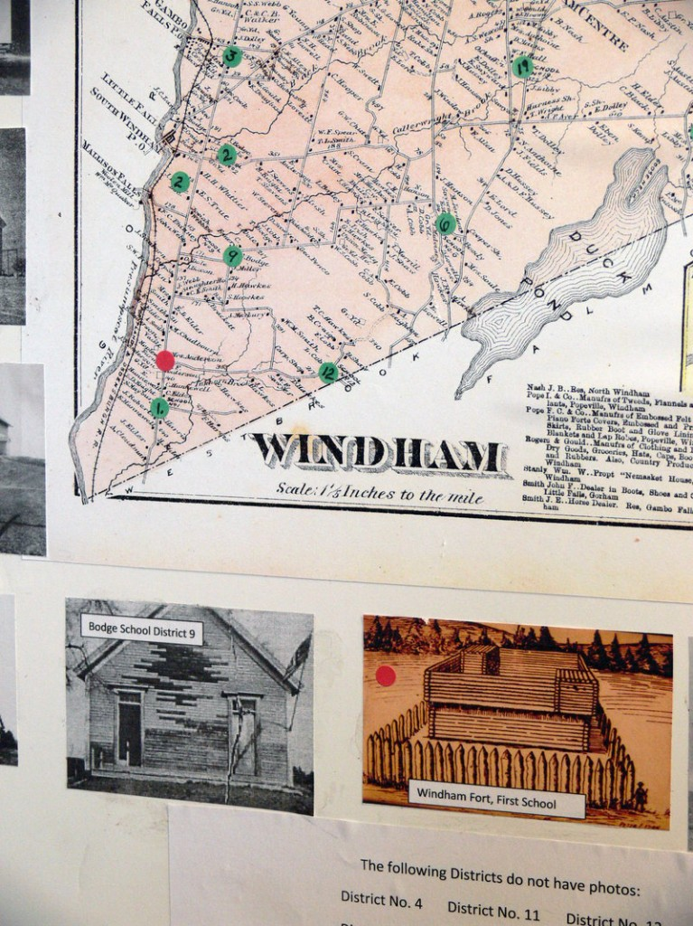 About a dozen maps are in Windham's collection. Many have been arranged by themes, like school districts, cemeteries and early villages.