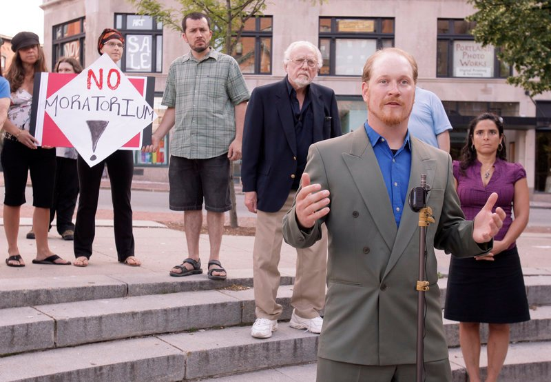Portland City Councilor David Marshall speaks at a rally Monday to oppose an effort to place a six-month moratorium on medical marijuana dispensaries in Portland.
