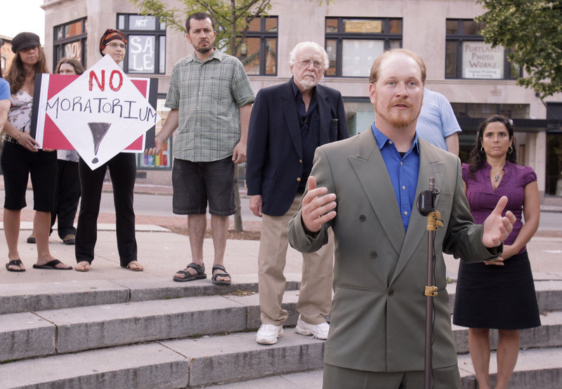 """Portland City Councilor David Marshall speaks at a rally Monday to oppose an effort to place a six-month moratorium on medical marijuana dispensaries in Portland. """"Patients want this now,"""" Marshall said in urging other councilors to reject the temporary ban. The council voted 9-0 against the moratorium."""