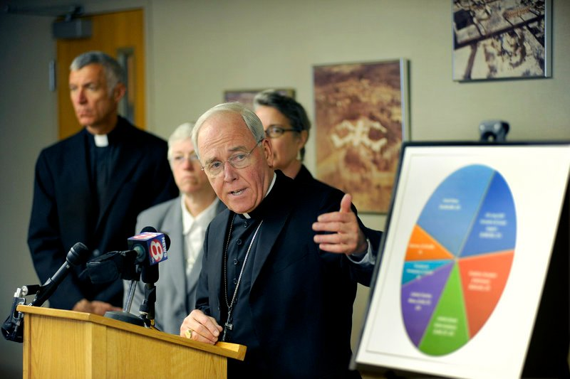 Diocese of Portland Bishop Richard Malone talks about the capital campaign Wednesday during a news conference at the chancery on Ocean Avenue.