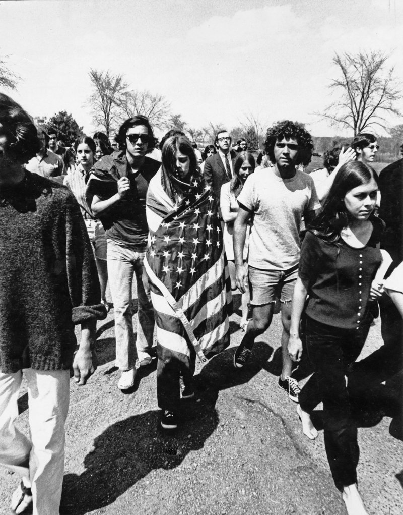 """A 1970 student protest at Colby College, from the Maine Historical Society's """"Exposed"""""""