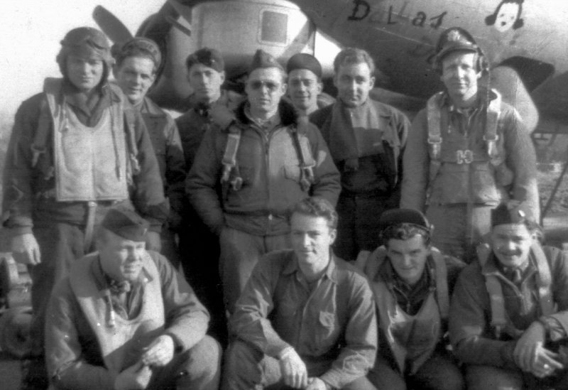 Lt. Col. Arnold M. Bryant, standing at far left, was the navigator on a B-18 bomber that flew 29 combat missions over France and Germany during World War II.