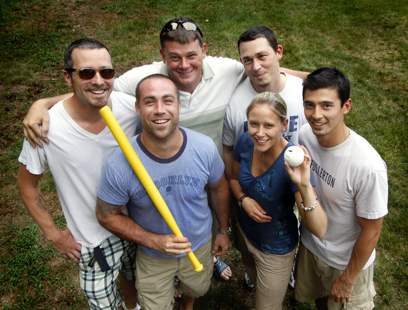The South Street Hard Shells, from left, Jon Roods of South Portland; Nathan Metivier of Falmouth; Tyler Anderson of Portland; Tony McNaboe of Falmouth; Sonja Krakau of Portland; and Spike Einsiedler of Portland.