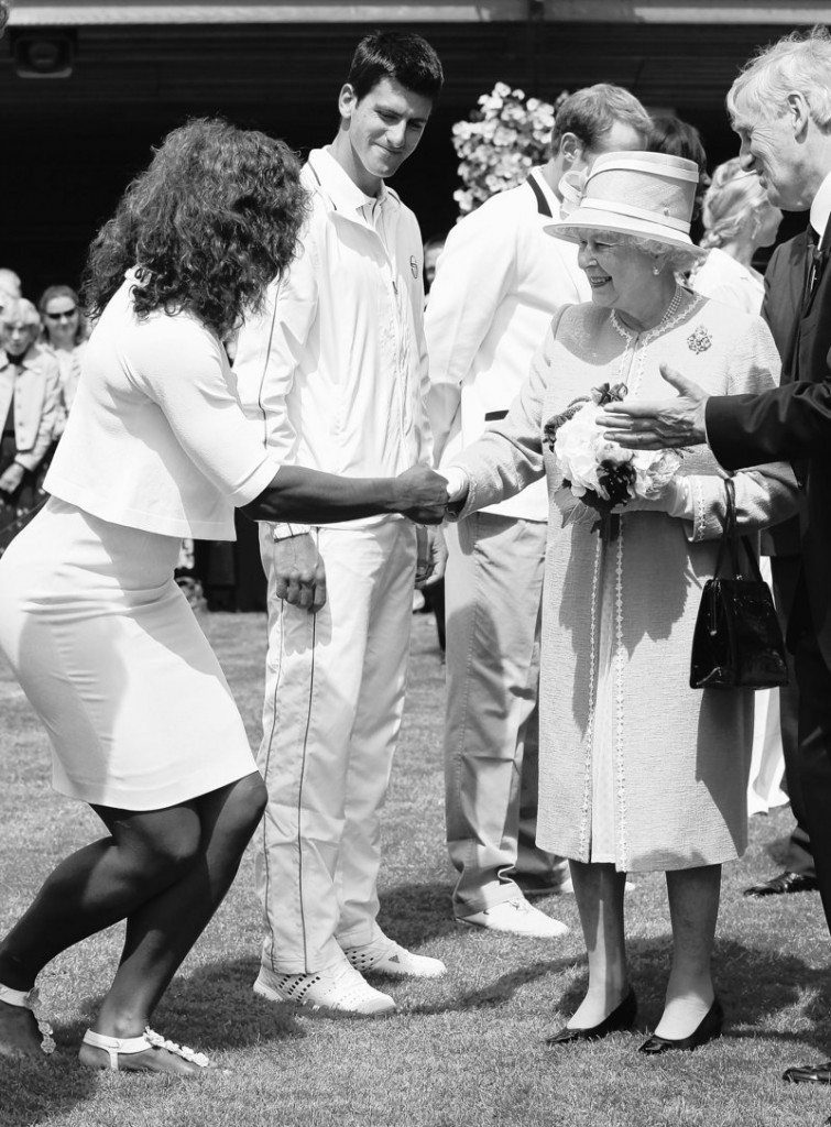 Queen Elizabeth II meets defending champion Serena Williams on Thursday as the British monarch made her first visit to Wimbledon in 33 years.