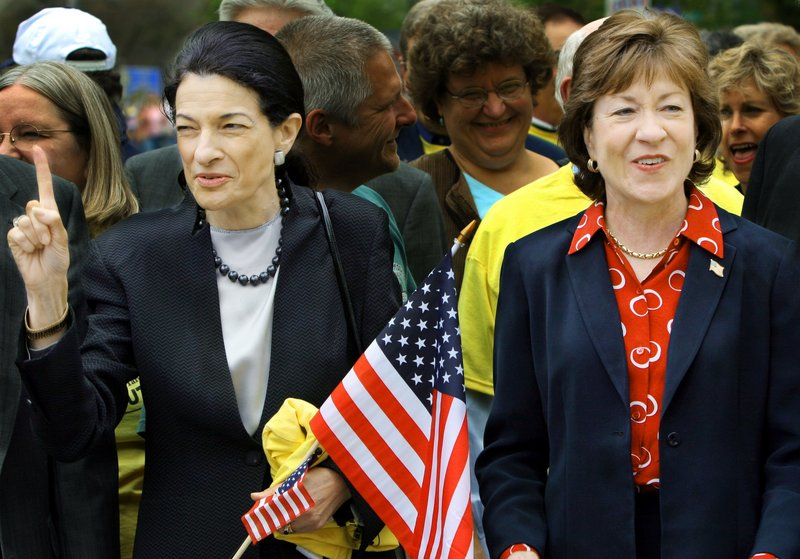 Sens. Olympia Snowe, left, and Susan Collins, shown here in a 2005 file photo, didn't vote the way a pair of readers felt they should on stimulus funding.