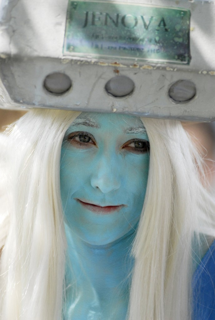 "Kelly Fennell of Saco costumed herself as the character Jenova, an antagonist from the ""Final Fantasy"" video game sagas."