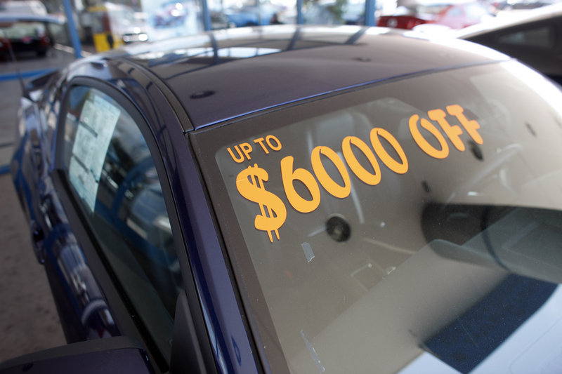 Disappointing car sales could eventually pose good news for consumers, as dealers are forced to offer incentives – such as this $6,000 price cut on a 2009 Mustang GT in Denver – to lure buyers back to showrooms.