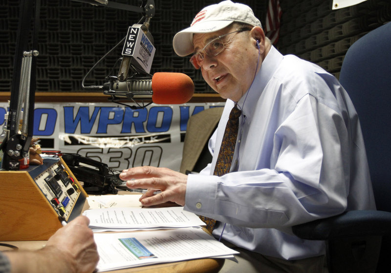 """Vincent """"Buddy"""" Cianci, former mayor of Providence, R.I., and talk show host, broadcasts """"The Buddy Cianci Show,"""" live at the WPRO radio studios in East Providence."""
