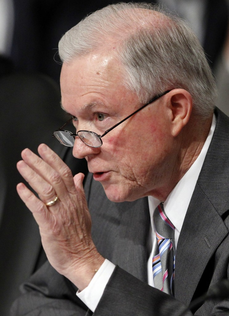 Sen. Jeff Sessions, R-Ala., chastised the nominee for statements and actions concerning military recruiting at Harvard.