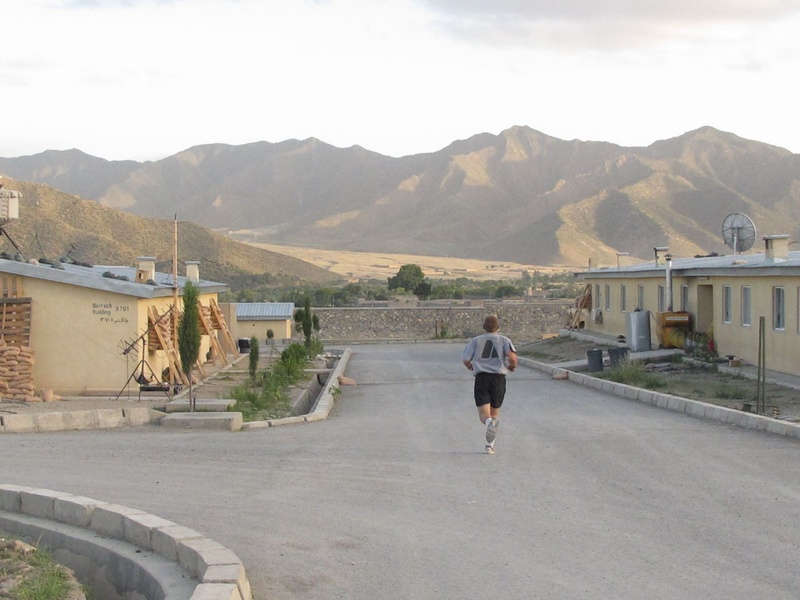A Maine Army National Guard soldier runs laps Friday evenng around Combat Outpost Dand wa Patan on the border between Afghanistan and Pakistan.