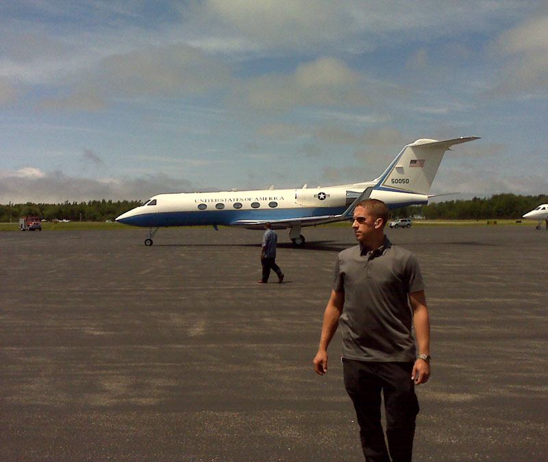 Obama's plane, Gulfstream G3, taxis on arrival at Hancock County-Bar Harbor Airport in Trenton.