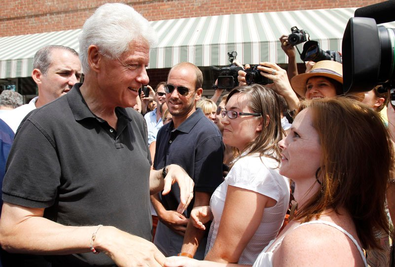 Former President Bill Clinton talks to well-wishers as he leaves a restaurant in Rhinebeck, N.Y., today.