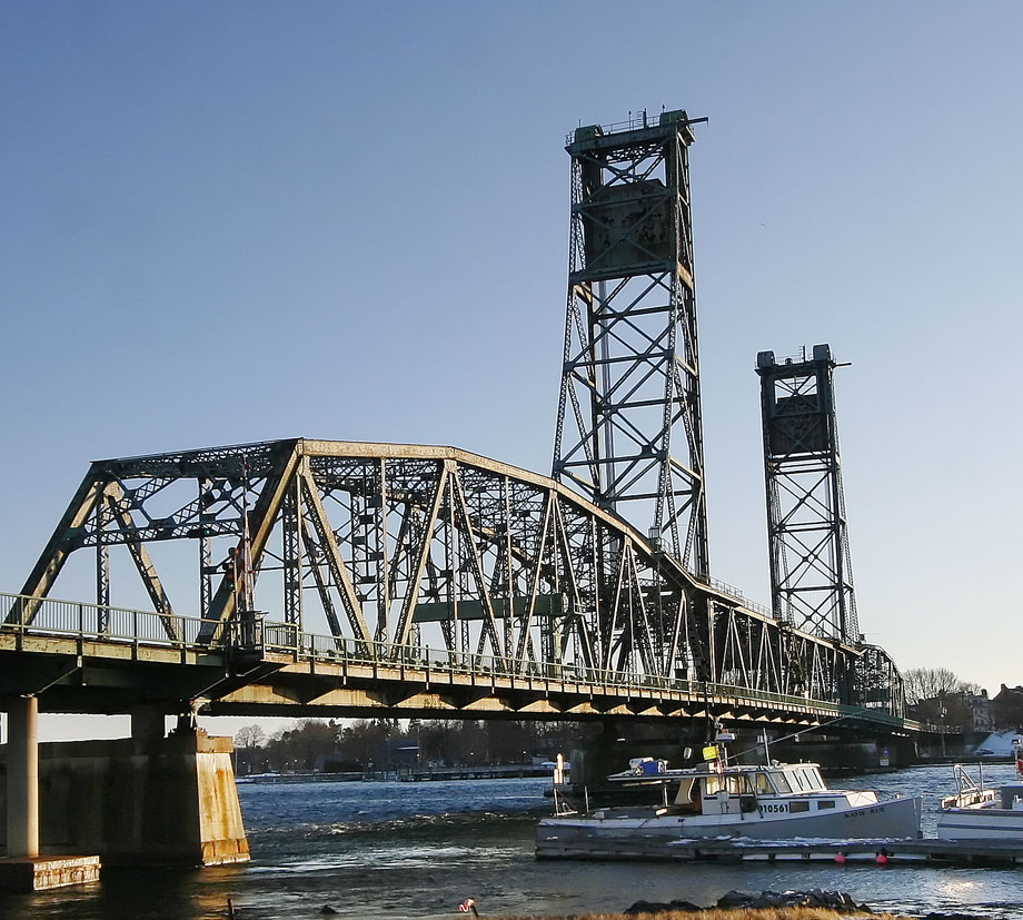 A view of the Memorial Bridge in Kittery,