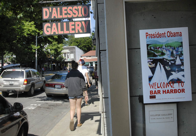 Signs were up in the windows of some shops welcoming the Obama family to Bar Harbor today.