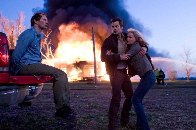 Brett Rickaby, left, Timothy Olyphant and Radha Mitchell in