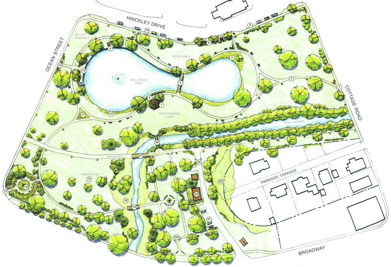 This is the Mill Creek Park Schematic Plan. A goal of the master plan is to better connect the park's various parts.