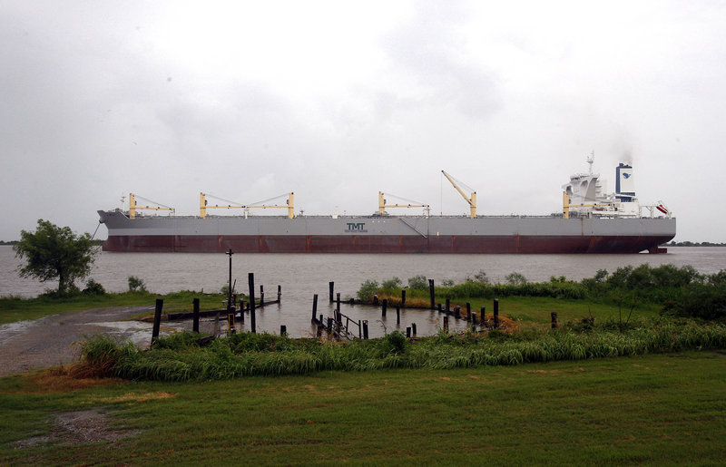"""The Taiwanese-flagged former tanker named the """"A Whale,"""" billed as the world's largest oil-skimming vessel, is anchored Wednesday on the Mississippi River in Boothville, La. The ship, longer than three football fields and 10 stories high, just emerged from a retrofitting for the Gulf, where officials hope it will suck up 21 million gallons of oily water per day."""