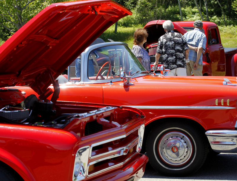 Red was a common color at the antique car show.