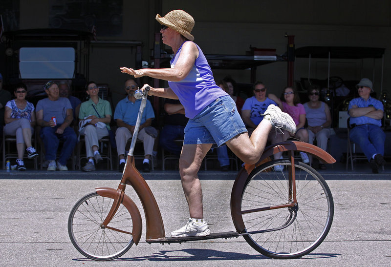 Claire Putnam of Portland shows off her style during the Ingo Bike riding competition. The Ingo Bike was produced in the early 1930s but never caught on with consumers.