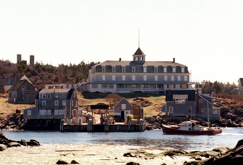 The Island Inn on Monhegan, one of coastal Maine's most magical places, presides just up the hill from the dock. If you wish to stay for dinner, you must rent a room because there are no ferries at night.