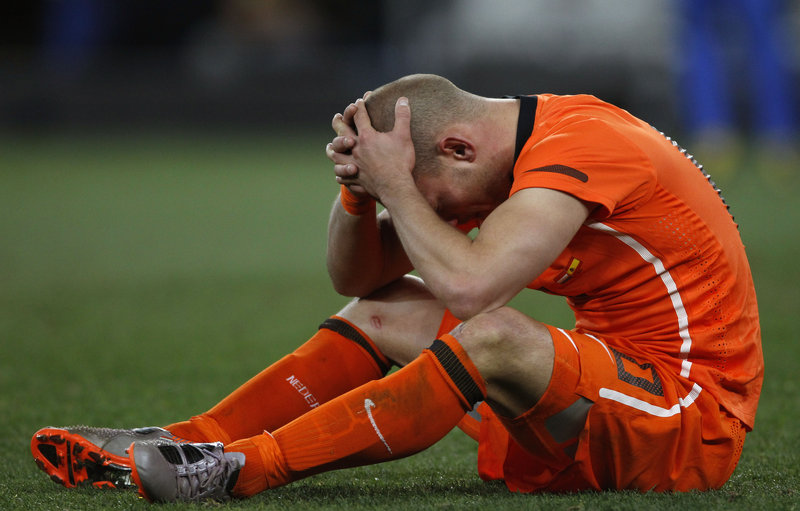 Wesley Sneijder, who had hoped to finally win the Cup for the Netherlands after the nation's finals losses in 1974 and '78, reacts after Sunday's game ends in another loss, 1-0 to Spain.