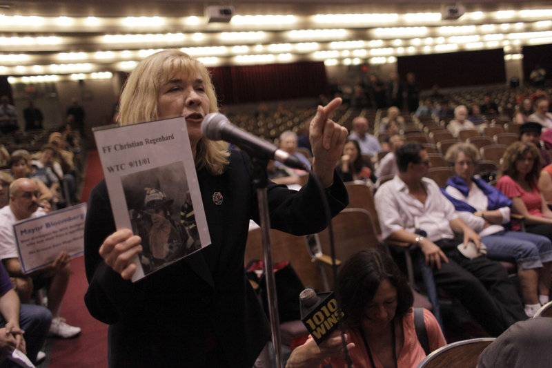 Sally Regenhard, who lost her son during the Sept. 11 attacks on the World Trade Center, speaks out against a proposal to build a mosque near ground zero, during a hearing Tuesday in New York.