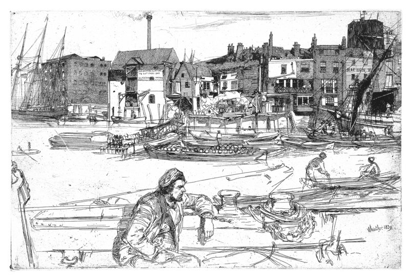 """""""Black-Lion Wharf"""" is one of more than 200 etchings and lithographs by James McNeill Whistler in the Lunder Collection."""