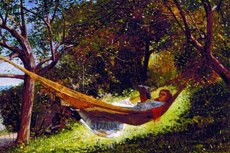 """Winslow Homer's 1873 oil painting """"Girl in the Hammock"""" is part of the Lunder Collection, donated to the Colby museum in 2007."""