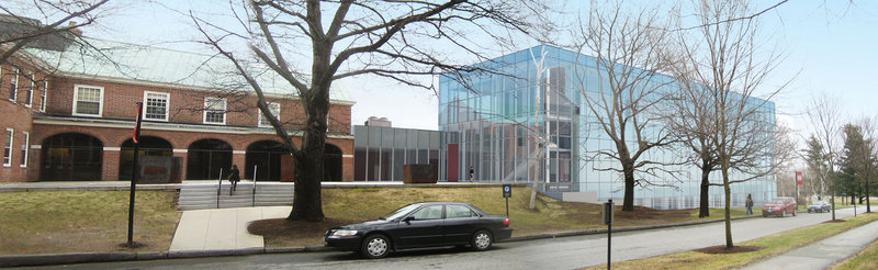 An artist's rendering shows the planned expansion of the Colby College Museum of Art in Waterville. The three-story glass prism will house the Lunder Collection and should be open to the public in 2013.
