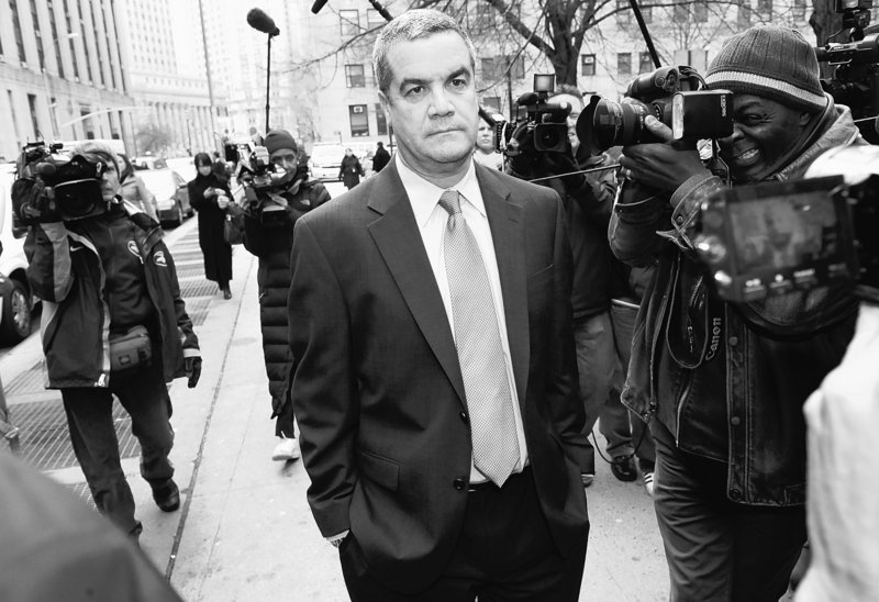 """Robert """"Joe"""" Halderman leaves Manhattan criminal court in 2010, after he was charged with attempted grand larceny for trying to extort $2 million from David Letterman."""