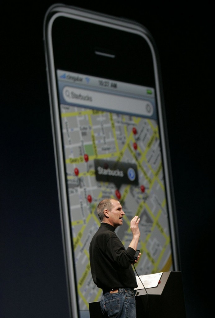 Apple CEO Steve Jobs demonstrates Google maps. The focus of forensics recovery has been on the iPhone over other smart phones because of its popularity: Almost 52 million have sold.