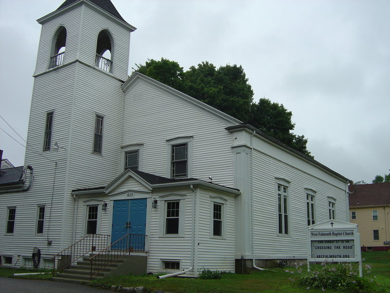 West Falmouth Baptist Church hosts a public bean supper on the last Saturday of each month and holds a craft fair in November, both of which help support mission projects.