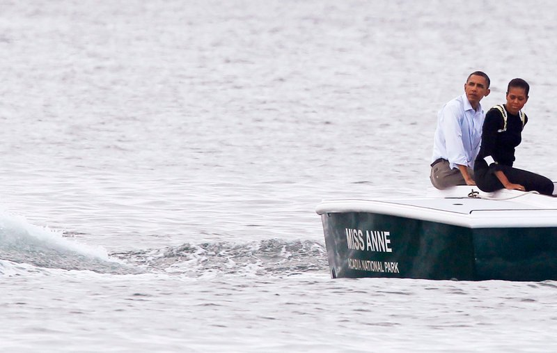 President Obama and first lady Michelle Obama take a boat tour of Frenchman Bay in Bar Harbor on Friday.