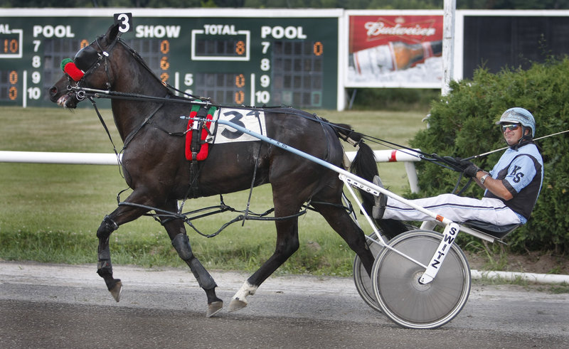 Kevin Switzer of Cumberland heads to the winner's circle with Four Starz Prince after winning the fourth race on the 12-race card that celebrated the 60th anniversary of Scarborough Downs' opening.