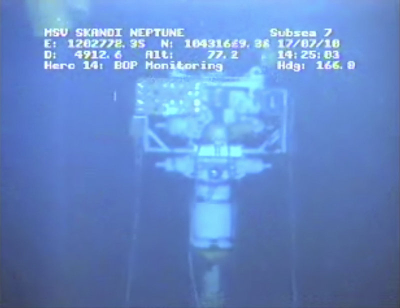 In an image taken from video provided by BP at 3:25 p.m. Saturday, the containment stack is shown at the site of the Deepwater Horizon spill. The government added another day of monitoring after a trial run of the cap ended.