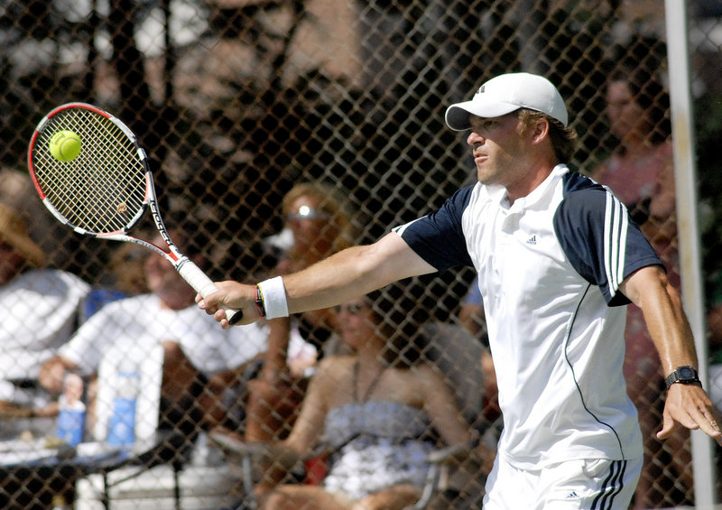 Ben Cox, a Portland Country Club teaching pro from Vero Beach, Fla., played six matches without losing his serve on his way to winning the men's singles title at the Betty Blakeman Memorial Tennis Tournament in Yarmouth.