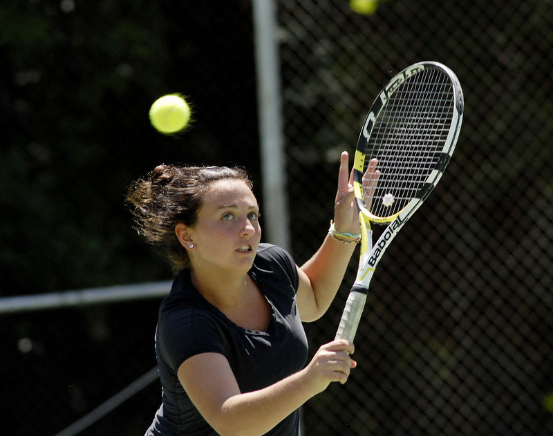 Maria Varano, 16, of Kennebunk split two sets with Meghan Kelley in the women's singles final before retiring because of illness.