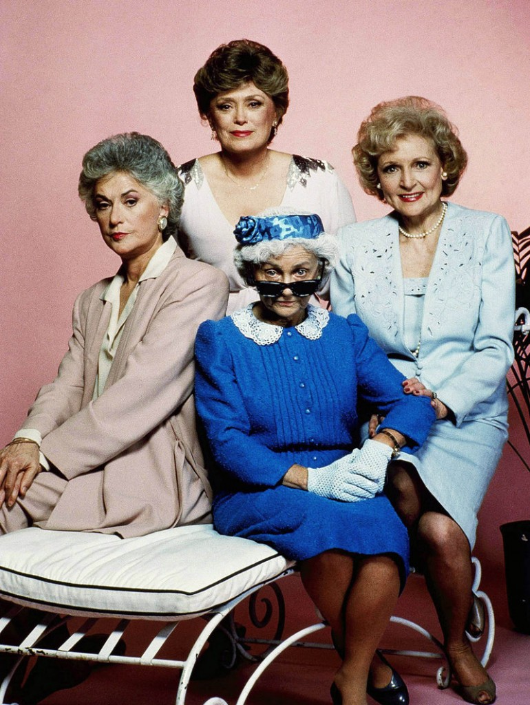 """Betty White, with """"Golden Girls"""" co-stars Bea Arthur, Rue McClanahan and Estelle Getty."""