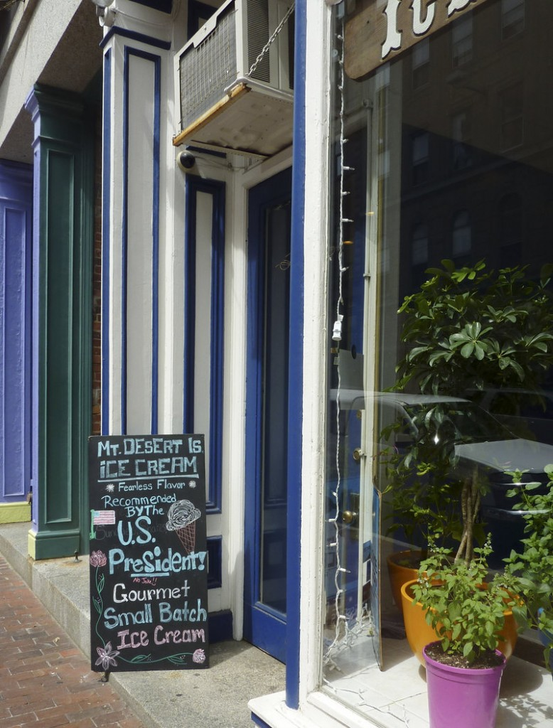 A sandwich board advertising the first family's visit to Mount Desert Island Ice Cream has been driving business to the Portland location on Exchange Street.