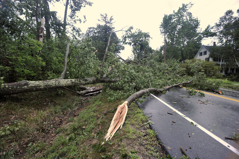 Downed trees block Fort Hill Road (Route 114) in Gorham. Widespread damage was reported in York County, including severe roof damage to a house on Foss Road in Limerick and to a house on Gore Road in Alfred.
