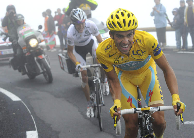 Alberto Contador tries to break away from Andy Schleck as they climb the Col du Tourmalet on Thursday in the Tour de France. Schleck won the stage but gained no time on his rival.