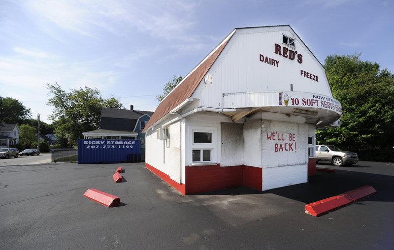 Red's Dairy Freeze in South Portland, normally buzzing with customers on a summer day, is deserted Friday.