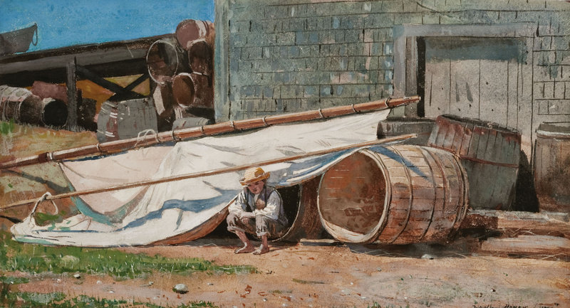 """""""Boy in a Boatyard"""" is one of the Winslow Homer watercolors in the Portland Museum of Art's collection, most of which is being shown through Sept. 6."""