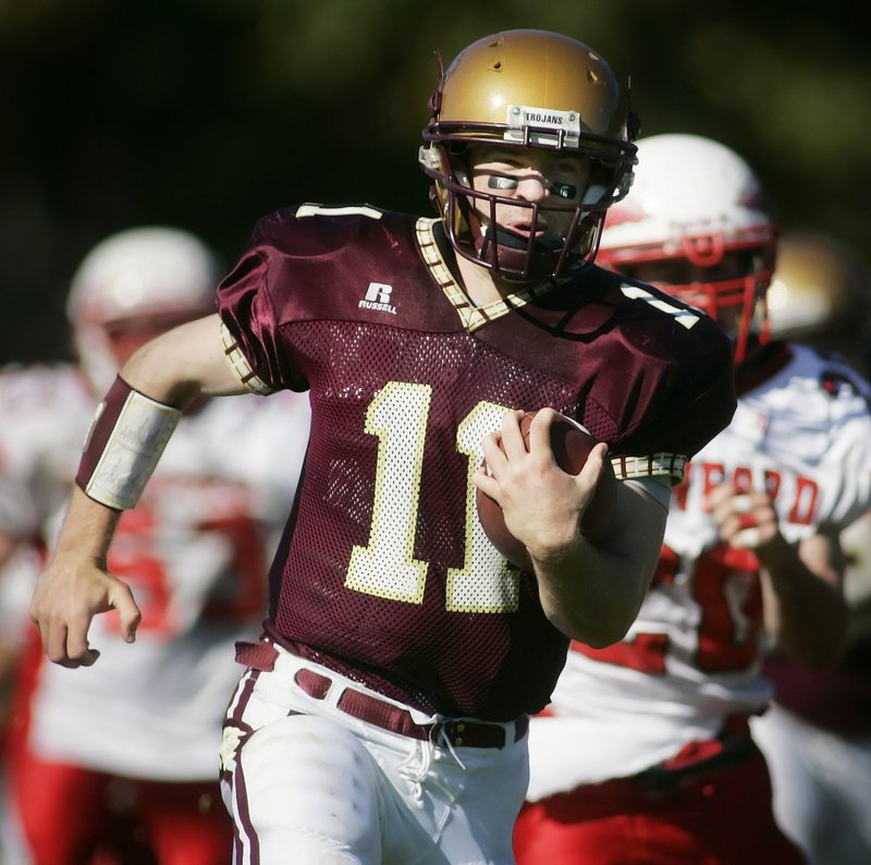 Steve Trask of Thornton Academy will be one of the three strong-armed quarterbacks for the West in the Lobster Bowl today.